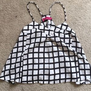 Black and White Check Pattern Tank Top